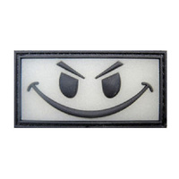 EVIL SMILEY FACE GLOW IN THE DARK PVC MORALE PATCH