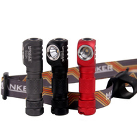 MANKERLIGHT E02H WATERPROOF HEADLAMP 220 LUMENS ANGLE HEAD LIGHT WITH HEADBAND BLACK