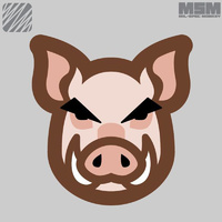 MSM PIG HEAD WOVEN MORALE PATCH- FULL COLOUR