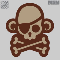MSM SKULL MONKEY PIRATE WOVEN MORALE PATCH- DESERT