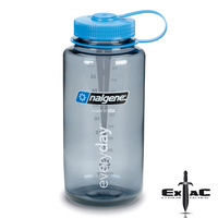 NALGENE WIDE MOUTH TRITAN BOTTLE 1000ML BLUE W/ GREY