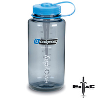 NALGENE WIDE MOUTH TRITAN BOTTLE 1000ML GREY W/ BLUE