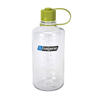 NALGENE NARROW MOUTH TRITAN BOTTLE 1000ML CLEAR W/ GREEN