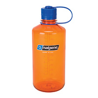 NALGENE NARROW MOUTH TRITAN BOTTLE 1000ML ORANGE W/ BLUE