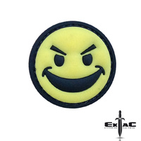 EVIL SMILEY FACE YELLOW PVC MORALE PATCH