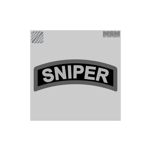 MSM SNIPER TAB WOVEN MORALE PATCH- DESERT