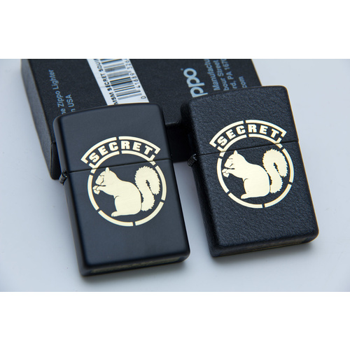MSM ZIPPO LIGHTER- SECRET SQUIRREL- MATTE BLACK