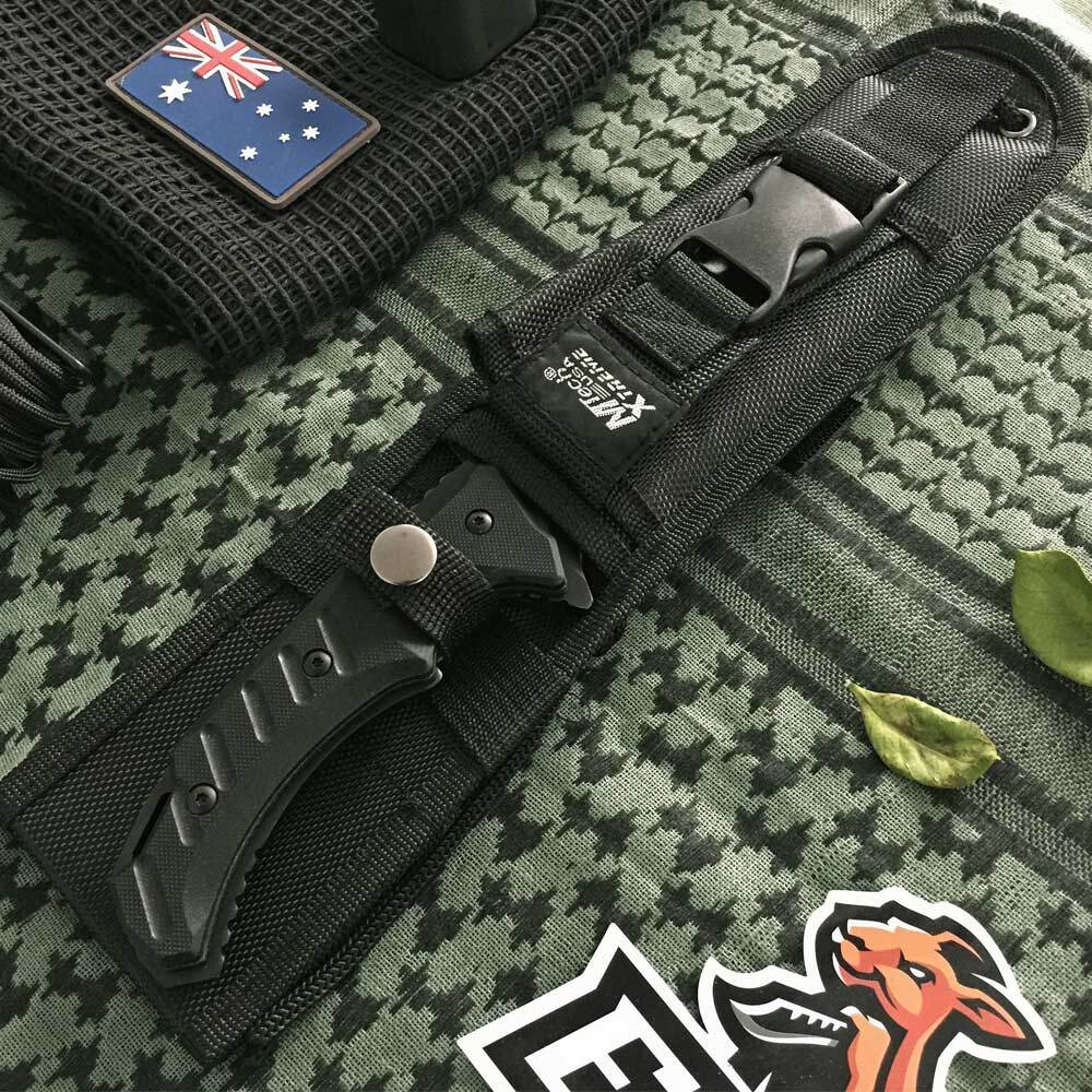 "Tactical Knife11/"" Overall Full Tang Black Tanto Cleaver Combat Blade Sheath"