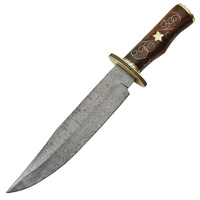 "Rite Edge Damascus Rosewood Bowie Knife | 15.75"" Overall, Damascus Steel Blade, Rosewood Handle, DM1133"