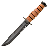 "KA-BAR USMC Serrated Fighting Knife | 11.8"" Overall, 1095 Cro-Van Steel, KA1218"