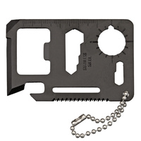 Survival Card | Stainless Steel, Black Finish, 9 Tools-In-One