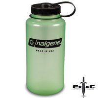 Nalgene Wide Mouth 1000ml Drink Bottle | Glow In The Dark, Tritan, Odour Proof, NAL2GLOW