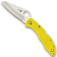 "Spyderco C91 Pacific Salt 1 Yellow Folding Knife | 8.6"" Overall, H-1 Blade Steel, YSC91PYL"