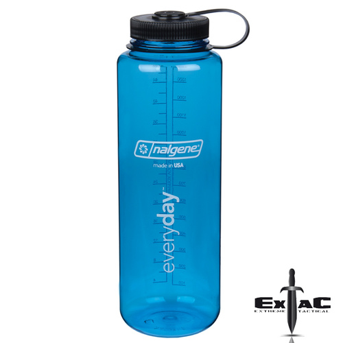 Nalgene Wide Mouth 1.5L SILO Drink Bottle | Blue and Black, Tritan, Odour Proof, NAL60BLWBK
