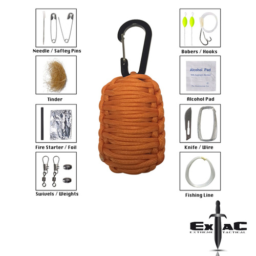 PARACORD CARABINER SURVIVAL KIT ORANGE
